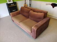 Sofa Bed - 2 seat, brown, pull out sofa bed