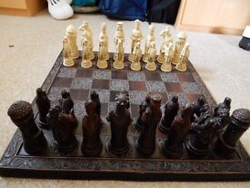 Wooden figured chess set and board
