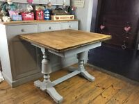 Shabby chic vintage extending dining table Annie Sloan Paris grey