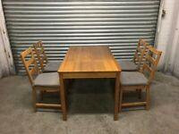 FREE DELIVERY IKEA OAK DINING TABLE & 4 CHAIRS WITH SEAT CUSHIONS GOOD CONDITION