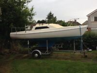 Hunter Europa 19ft sailing boat with braked galvanised trailer