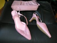 Pink shoes with matching clutch bag , size 5.