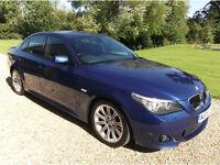 BMW 5 SERIES 520D M SPORT 4DR manual, metallic blue, black leather interior, I Drive, sat nav