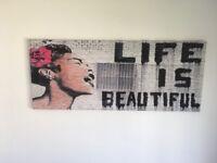 Life is Beautiful Banksy Graffiti Street Art Black