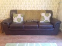 Nearly new - Dark brown 3-seater leather sofa.