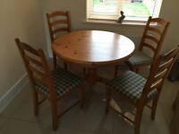 Round Wooden Kitchen Table and 4 chairs