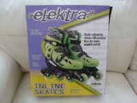 CHILDS ELEKTRA INLINE SKATES GREEN ADJUSTABLE SHOE SIZE 13J-3 BRAND NEW IN BOX