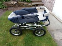 silver cross pram pushchair plus car seat and carry cot full working order pnumatic tyres