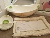 Baby bath and changing mat set
