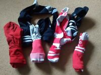 7 pairs kids football socks, black and red see pics