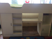 Selling my daughters high sleeper cabin bed with mattress.