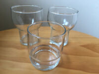 3 vintage (1970s?) clear tumblers, glasses - 2 of one design, 1 of another. £2 the lot.