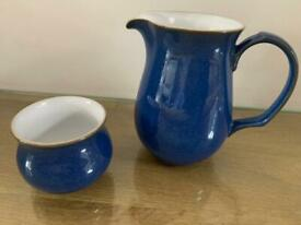 """Lovely Denby Imperial Blue large jug (approx 6-7"""" tall) and open sugar bowl."""