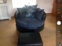 2 seater settee and cuddle chair with footstool,only one week old