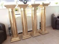 GOLD DISPLAY COLUMNS LIGHT WEIGHT PAPER MACHE FOUR FOR SALE, BUYER COLLECTS