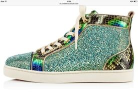 Christian Louboutin Diamante Strass Python High Top Sneakers
