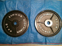 4 x 20kg cast iron olympic weight plates