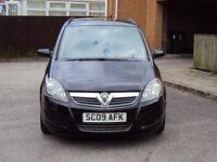 VAUXHALL ZAFIRA 1.6i LIFE 16v 5DR MPV 7 SEATS BLACK 2009 F.S.H+LONG MOT+2KEYS LADY OWNER FOR £2395