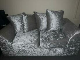 2 Seater Silver Crushed velvet sofa