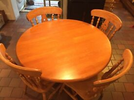Pine round table with 4 matching chairs
