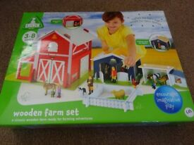 New ELC Wooden Farm Play Set The set includes a a base board, a barn with a sliding door ideal gift
