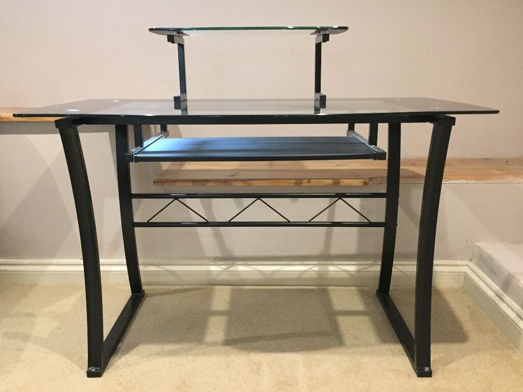 Tempered Glass Computer Desk With Monitor Shelf And Sliding Keyboard Tray