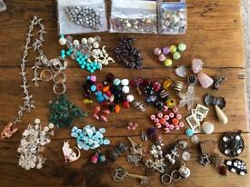Large collection of new beads, charms and jewellery findings