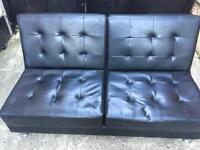Black leather 2 seater sofa bed •free delivery•