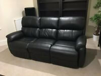 3-seater electric reclining sofa / genuine leather (black) / excellent condition