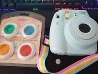 Instax mini 8 polaroid camera w/ lenses and 10 Shots