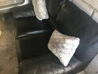 Italian leather black sofa - excellent condition