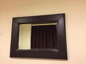 Wall mirror, brown frame