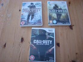 3 Nintendo Wii games - Call of Duty World at war, Modern warfare & Black Ops. Will split but would