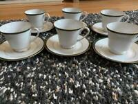 Boots Hanover green fine China set in great condition consisting of 6 tea cups and 6 saucers