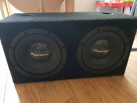 "Kicker KX300.4 Amp and 2x pioneer 12"" subs"