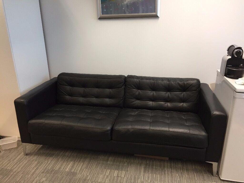 Used Ikea like new ikea black leather sofa orig £550 now £150 *** barely