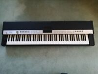Yamaha CP5 Stage Piano with music rest and sustain pedal.