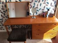 Dressing table with mirror and matching bedside table - cherry wood
