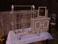 Shabby Chic Bathroom Set. Cabinet, Mirror, Free Standing Towel rail, toilet roll/toothbrush holder