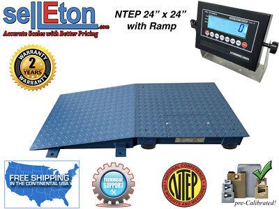 New Industrial Ntep Floor Scale 24 X 24 1 Ramp 5000 Lbs. X 1lb Lcd Display