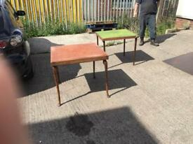 Two folding card tables