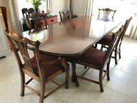 Solid mahogany extendable Reprodux table and 6 chairs