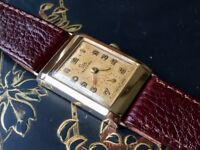 Vintage solid 9k 9ct 375 gold mens Record tank watch (Christmas present?) Longines