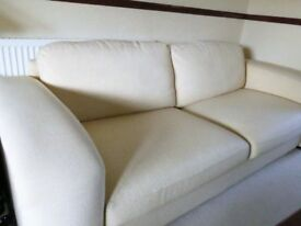 2 Seat Sofa Cream linen fabric with deep seats Sits 3 person + 2 matching arm chair Art Deco design