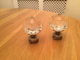 TWO NEW FACETED GLASS FINIALS FOR 28mm POLE