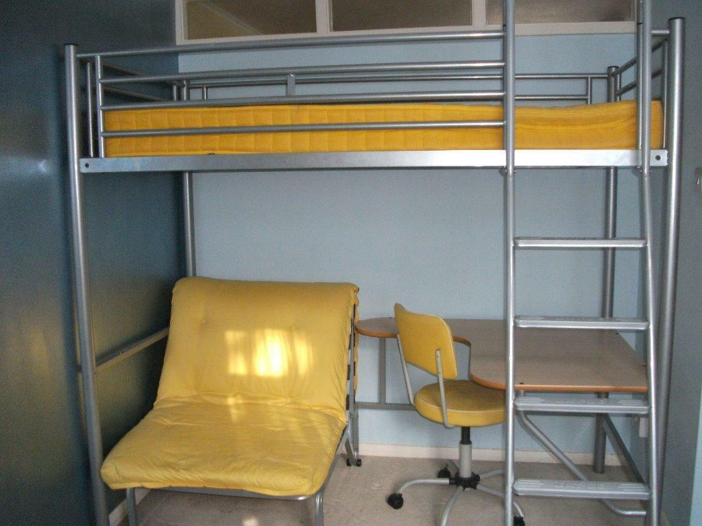 silver metal framed high sleeper with desk and single futon chair with mattress and chair vgc