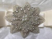 Diamanté and pearl belt for wedding dress - ivory