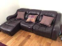 Quality real Leather Sofa dark purple