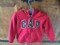 Boys or Girls Red babyGAP hoodie with warm fleecey lining, perfect for winter. Age 3yrs