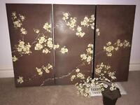 Asian 3 panel canvas painting with plant